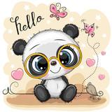 Fototapeta Fototapety na ścianę do pokoju dziecięcego - Cartoon Panda with glasses on a yellow background