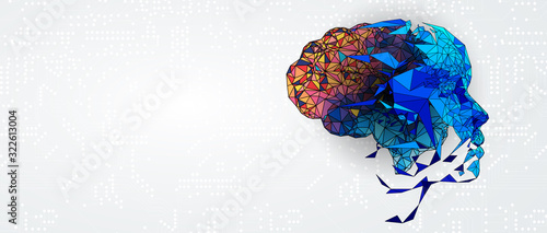 Fototapeta Abstract human brain. Artificial intelligence technology. Science background obraz