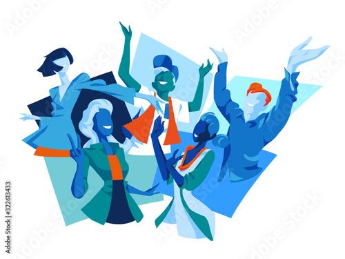 Persone sorridenti che esprimono gioia, felicità, soddisfazione, emozioni positive Wallpaper Mural