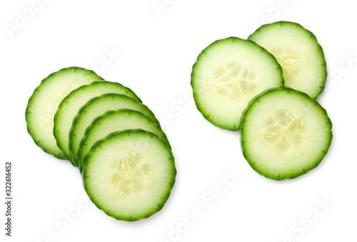 Fototapeta Cucumber Slice Isolated On White Background obraz
