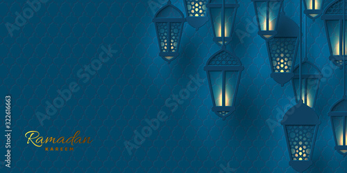 Vector illustration of Ramadan lanterns in paper cut style with glowing lights Canvas Print