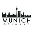 Munich Germany Silhouette. Skyline Stamp Vector City Design Landmark.