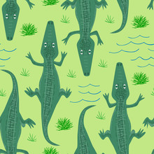 Seamless Pattern Of Crocodile....
