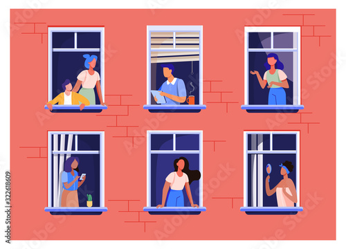 Apartment building with people in open window spaces Poster Mural XXL