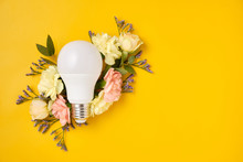 Energy Saving LED Lamp With Flowers Over Yellow Background. Gree