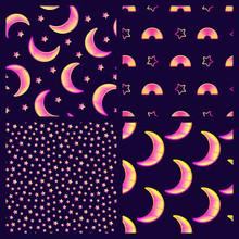 Set Of 4 Astronomy Seamless Pa...