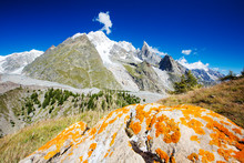 Looking Towards Mont Blanc And The Glacier Du Miage From Above Val Veny, Italy.