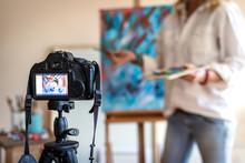 Art Painter Live Streaming From Her Studio. Freelance Artist