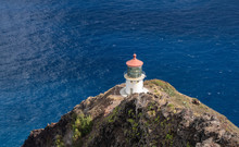 Old Lighthouse On The Cliff Side On Makapu'u Point On Oahu In Hawaii
