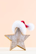 canvas print picture Christmas star, decor on pastel colored background. Christmas or New Year minimal concept.