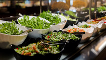 Vegetarian Culinary Buffet. Cuisine Culinary Buffet Vegetarian Restaurant. Cold Appetizers And Vegetables Salats.