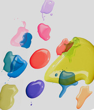 Colorful Paint Stains On White Background