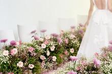 Rear View Of Bride Walking On ...