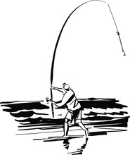 The Vector Sketch Of The Fisherman On The Surfing Fishing
