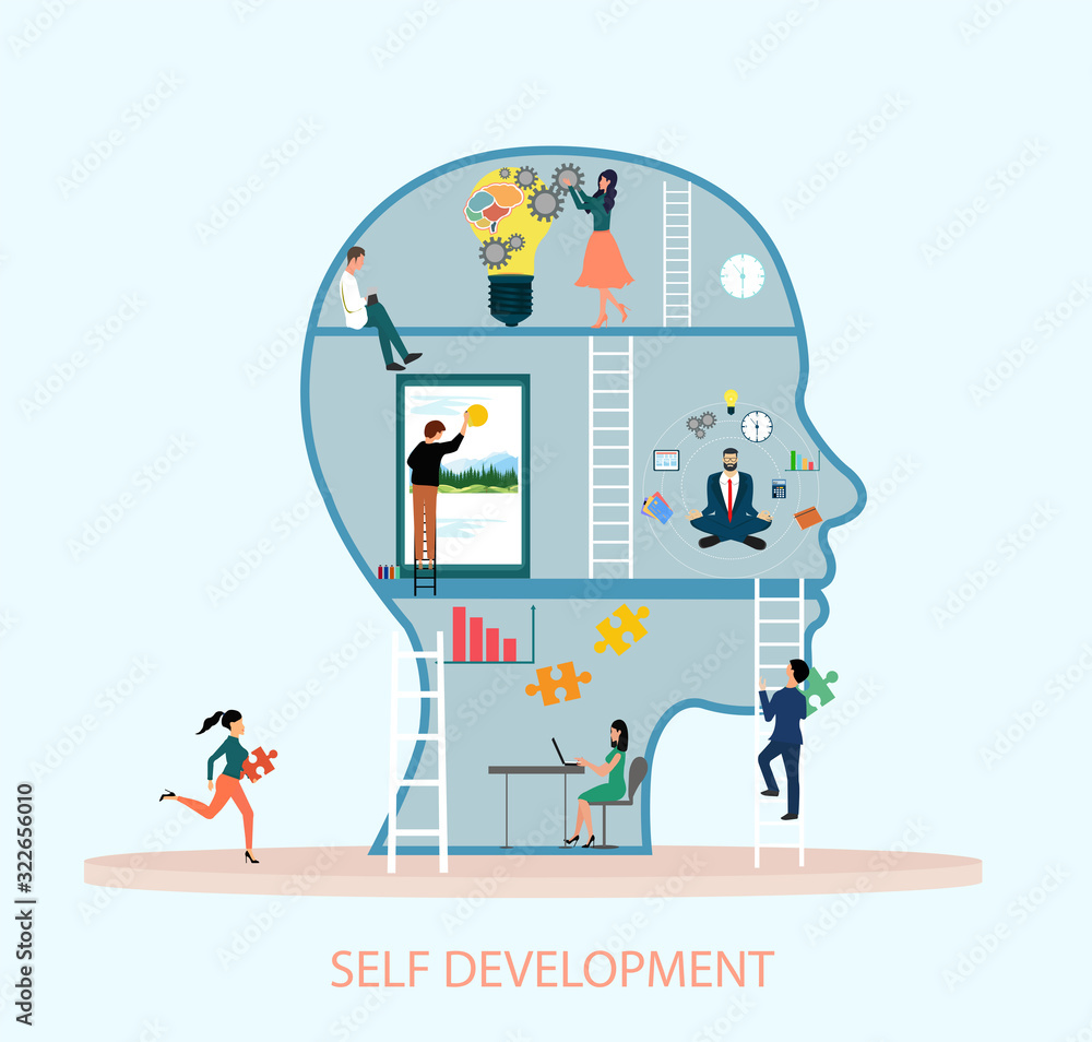 Fototapeta Vector of a group of creative people working hard on self improvement and climbing ladder of success.