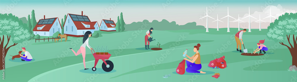 Fototapeta Vector of a group of people living in green rural area cooperating for environmental protection