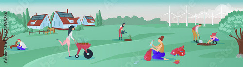 Obraz Vector of a group of people living in green rural area cooperating for environmental protection - fototapety do salonu