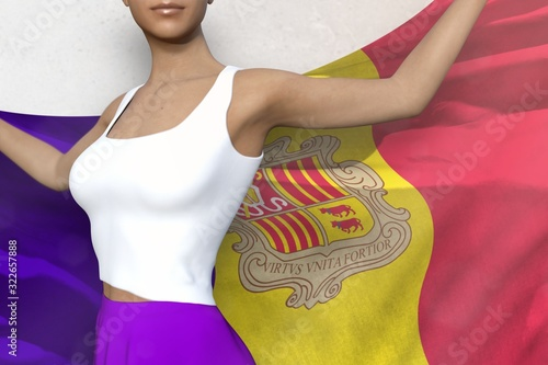 beautiful woman in bright skirt holds Andorra flag in hands behind her back on t Canvas Print