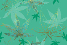 Seamless Pattern Of Gold Cannabis Leaves. Pattern Of Green Or Turquoise Marijuana Leaf.