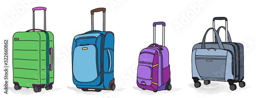 Collection of various baggage with wheels Canvas Print