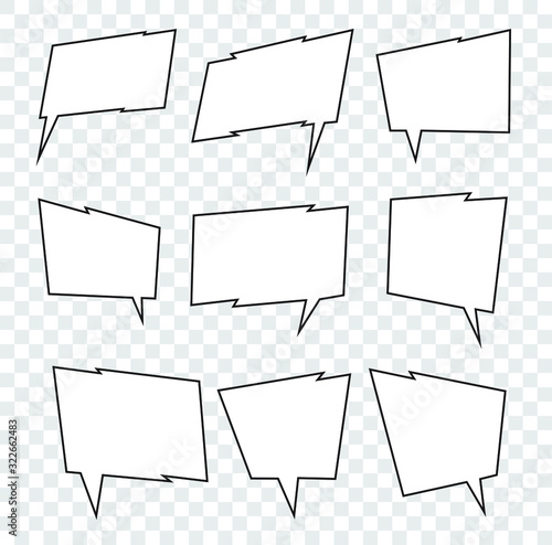 Set of editable abstract vector speech bubbles in angular, sharp style for your design Canvas Print