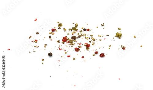 Fototapeta Spice of multicolored pepper isolated on white background. obraz