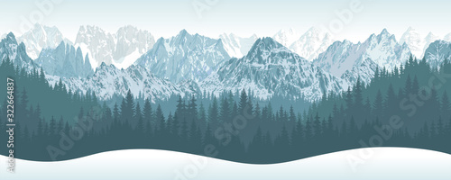 vector winter seamless mountains with woodland background illustration Wallpaper Mural