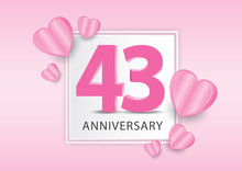 43 Years Anniversary Logo Celebration With Heart Background. Valentine's Day Anniversary Banner Vector Template