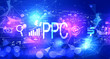 Leinwanddruck Bild - PPC - Pay per click concept with technology blurred abstract light background