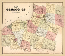 Map Of Oswego County, New York Published In 1867, A Restored Reproduction. I Have Selected Interesting, Old 19th And Early 20th Century Graphic Images For Digital Restoration And Editing.