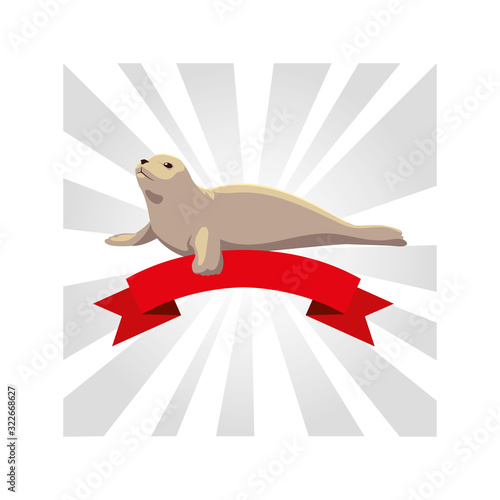 Fototapeta seal dog greeting card with ribbon obraz
