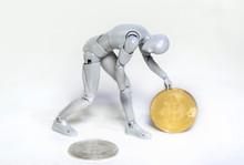 Walking Humanoid Bitcoin Concept