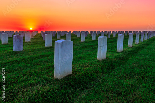 National cemetery with rows of white gravestones Wallpaper Mural