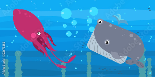 Funny cartoon undersea scene with swimming coral reef fishes illustration Wallpaper Mural