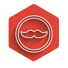 White line Mustache icon isolated with long shadow. Barbershop symbol. Facial hair style. Red hexagon button. Vector Illustration
