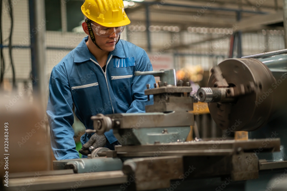 Fototapeta Professional asian worker team, quality control, stand maintenance, talk in the Warehouse factory. Team Engineer Factory operator Operating meetings