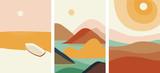 Wektor. Zestaw konstruktywizmu abstrakcyjne krajobrazy plakatów. Geometryczne kształty, projekt szablonu, nowoczesna minimalistyczna grafika ścienna, elementy w kolorze terakoty. Ulotka, plakat, magazyn lub broszura. Awangarda.