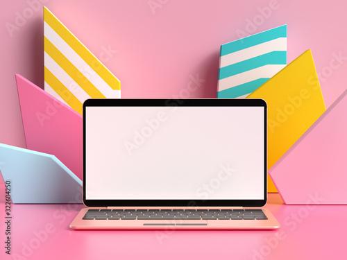 Fototapeta blank screen laptop display 3d rendering mock up obraz