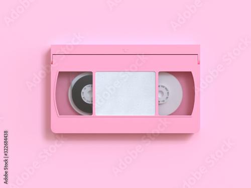 Fotografering pink video tape cassette 3d rendering minimal style