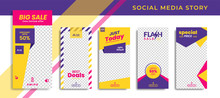 Banners Bundle Kit Set Of Social Media Instagram Story. Geometric Stories Sale Banner Background ,Poster, Flyer, Coupon, Layout Composision Gift Card, Smartphone Templates Story Editable Eps 10 Vector