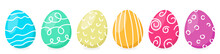 Colorful Painted Easter Eggs In A Row Isolated Vector Flat Design