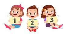 Happy Cute Little Kid Boy And Boy Learn Number