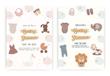 Set Of Newborn Baby Care, Clothing And Gift Toys Shop, Vector Banners. Child Care Bathing, Hygiene And Healthcare Products Diapers, Feeding Bottles, Car Kid Chair. Hand Drawn Vector.