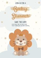 Cute Lion. Happy Birthday Party Invitation Card Design, Baby Shower Invitation Card Design Template.