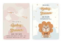 Set Of Cute Lion, Seagull. Happy Birthday Party Invitation Card Design, Baby Shower Invitation Card Design Template.