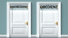 Disobedient And Obedient As A Choice - Pictured As Words Disobedient, Obedient On Doors To Show That Disobedient And Obedient Are Opposite Options While Making Decision, 3d Illustration