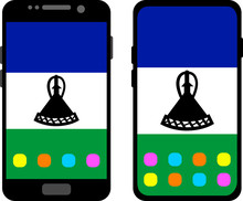 Two Black Smartphones With A Home Screen And Wallpaper With The Flag Of Lesotho: Old Model With Gray Buttons And New Model Without Buttons. Vector Graphics, Illustration