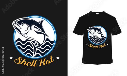 Photographie Shell Kat Fishing t shirt Design, template, vector, vintage, apparel, retro, emblems