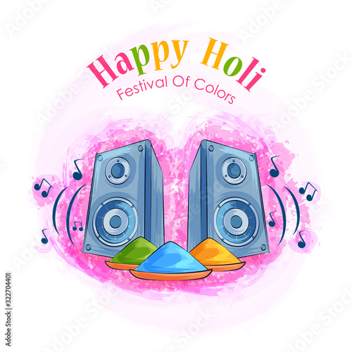 Vászonkép Colorful Traditional Holi background for festival of colors of India in vector