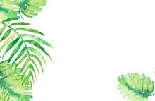 Watercolor Frame Tropical Leav...
